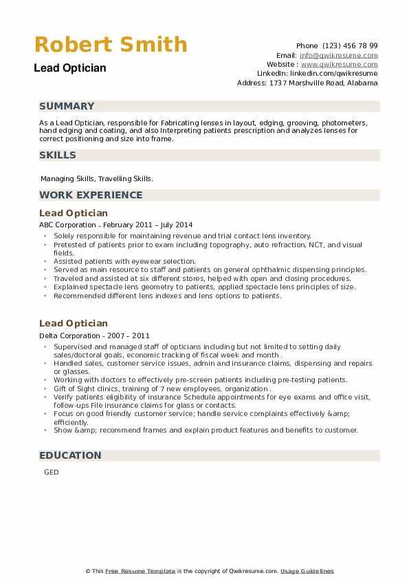 Lead Optician Resume example