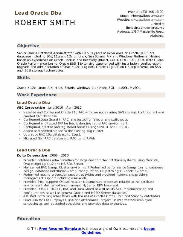 lead oracle dba resume samples  qwikresume