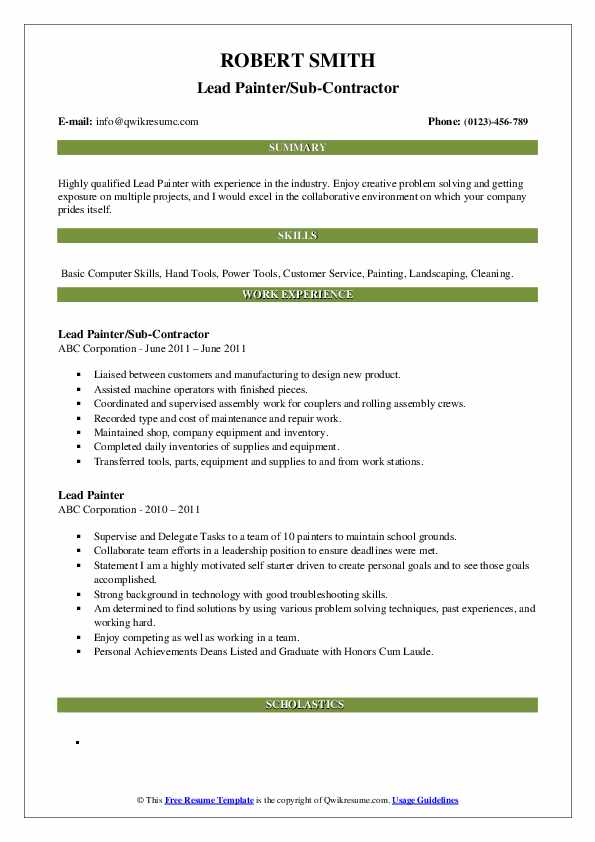 Lead Painter Resume Samples   QwikResume