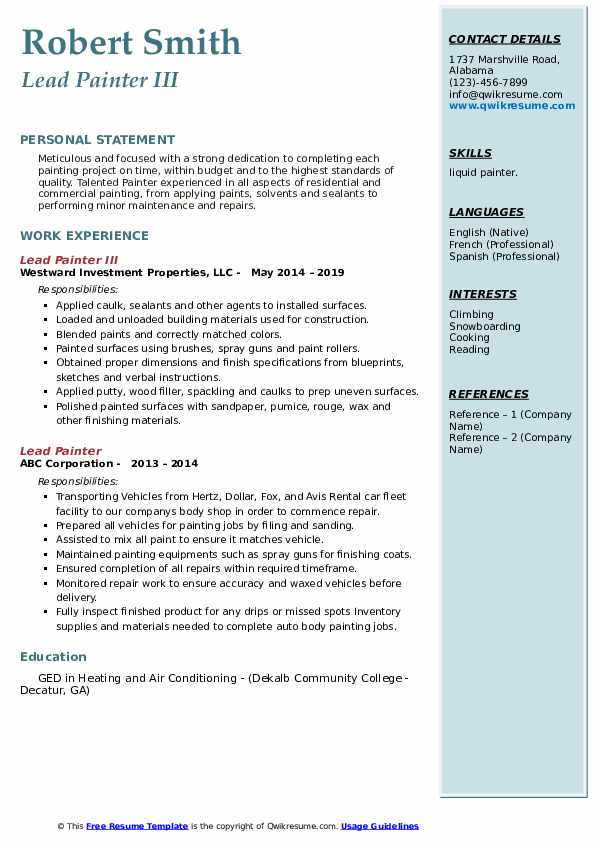 lead painter resume samples