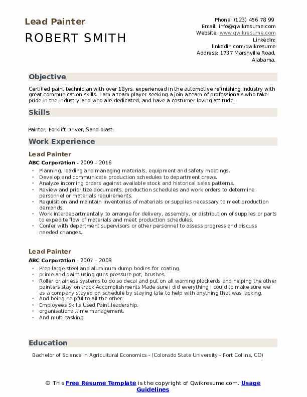 Lead Painter Resume example
