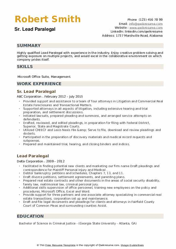 Lead Paralegal Resume example