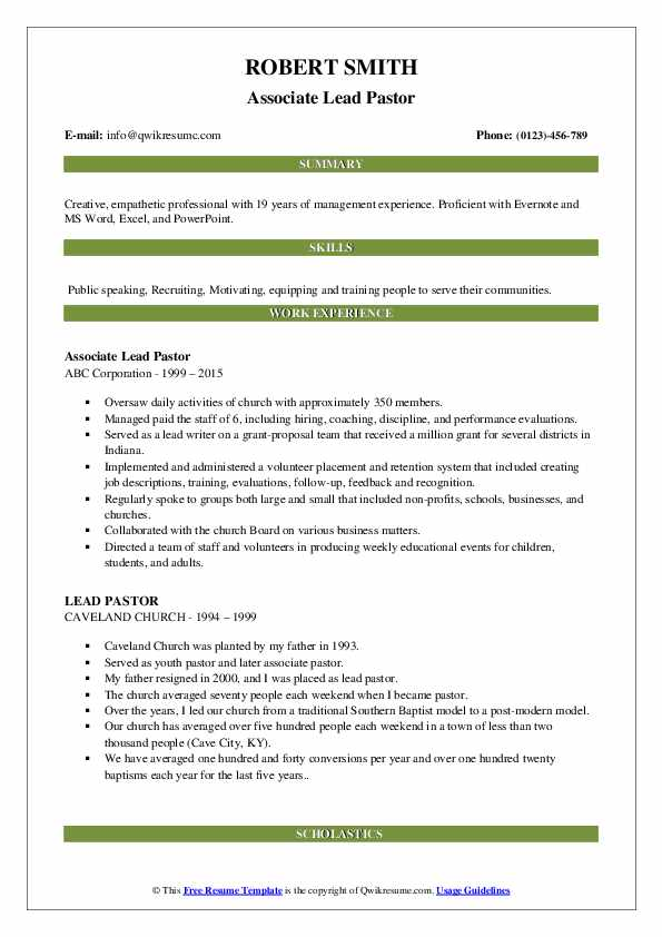 Associate Lead Pastor Resume Sample
