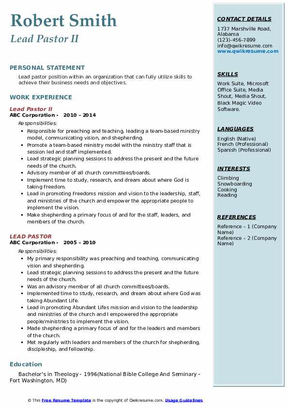 Lead Pastor II Resume Model