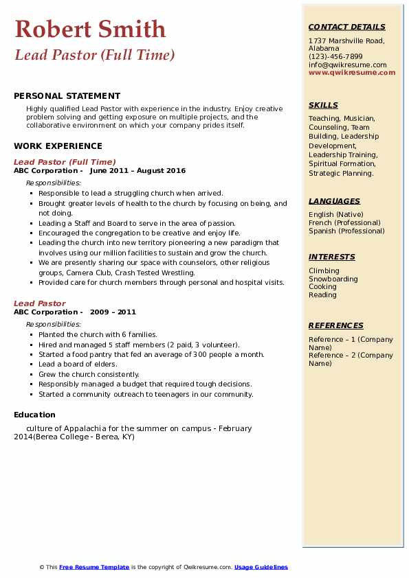 Lead Pastor (Full Time) Resume Model