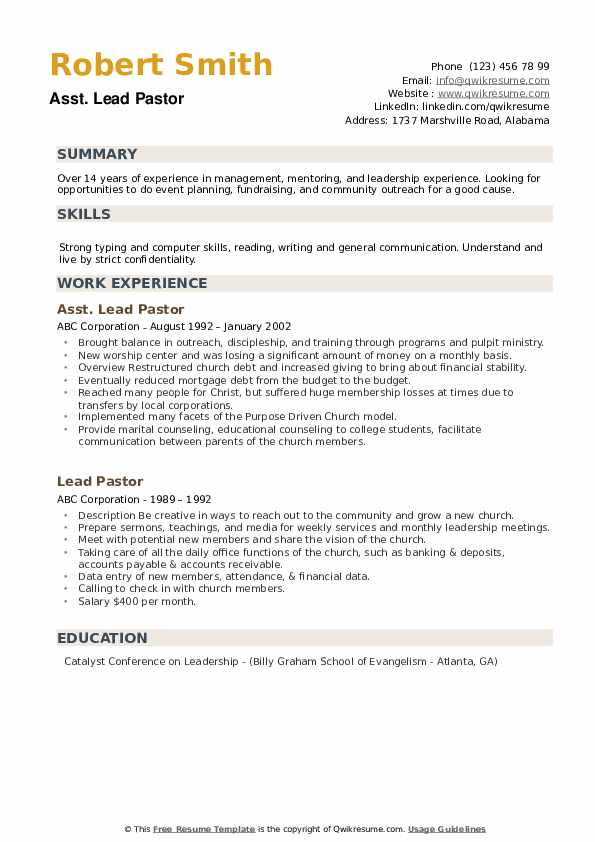 Asst. Lead Pastor Resume Example