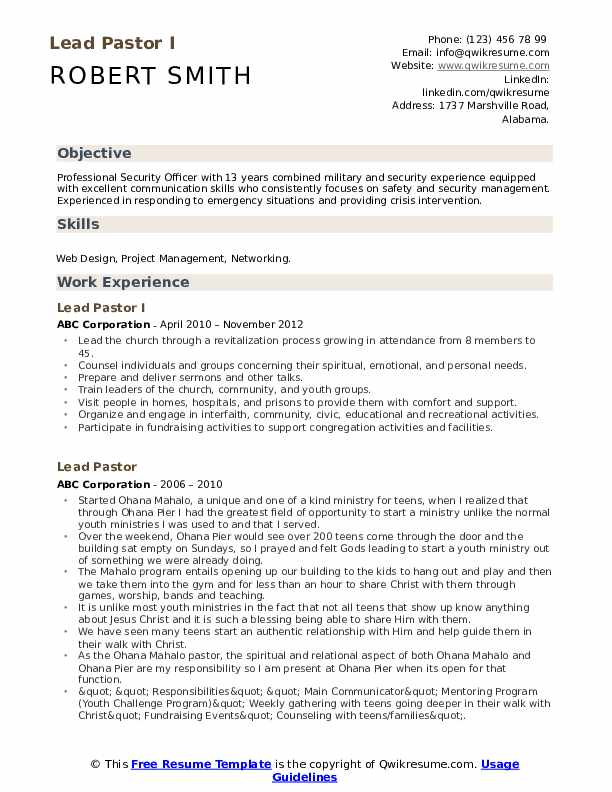 Lead Pastor I Resume Template