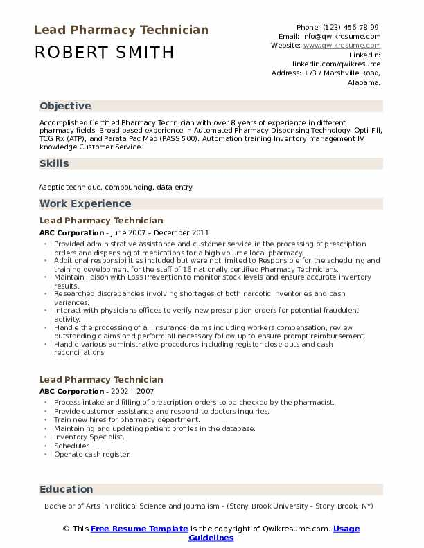 Lead Pharmacy Technician Resume Samples | QwikResume