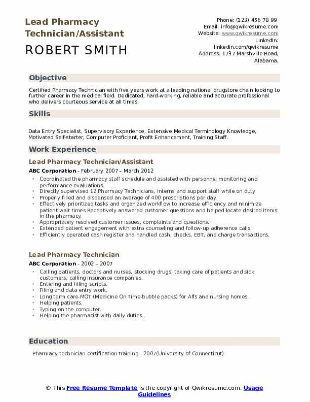 Lead Pharmacy Technician/Assistant Resume Format
