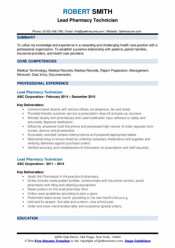 Lead Pharmacy Technician Resume Samples Qwikresume