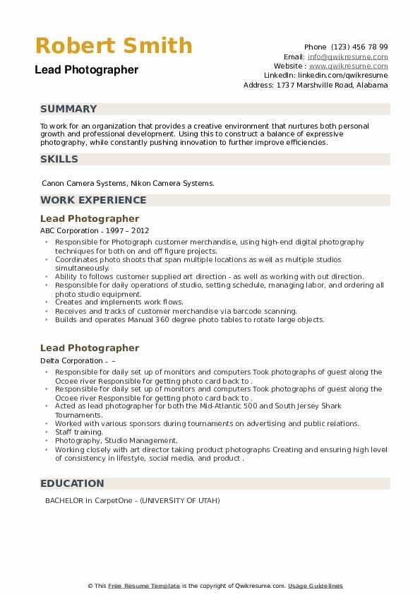 Lead Photographer Resume example