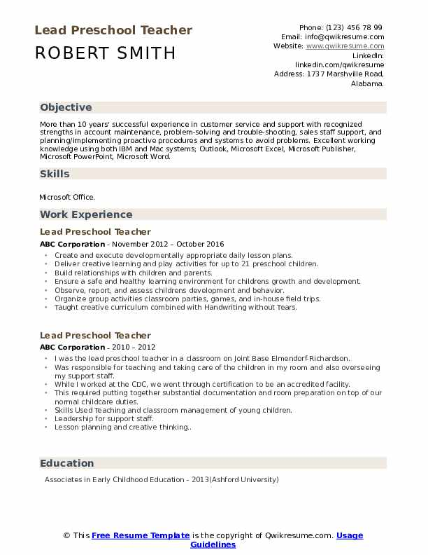 lead preschool teacher resume samples