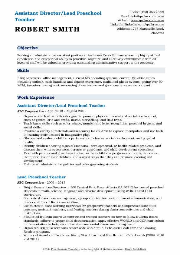 Assistant Director/Lead Preschool Teacher Resume Template