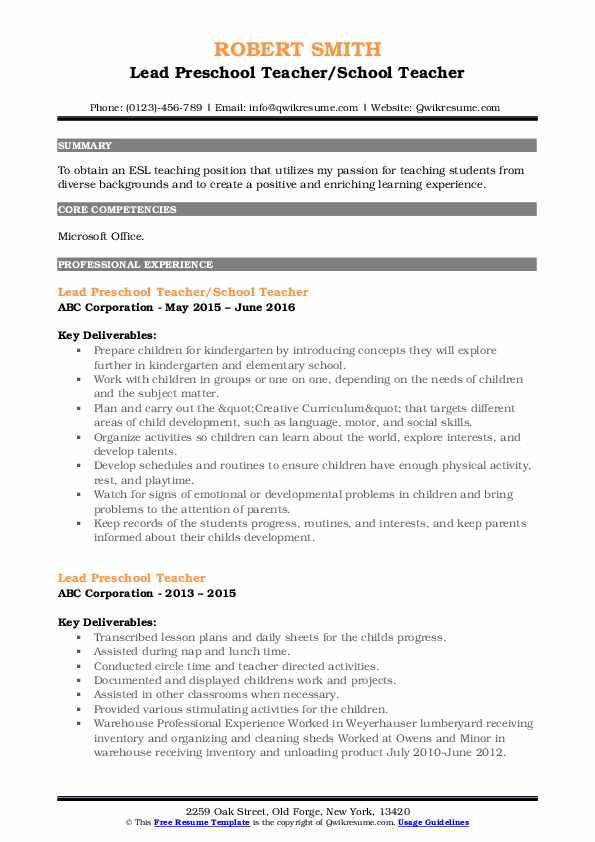 Lead Preschool Teacher/School Teacher Resume Format