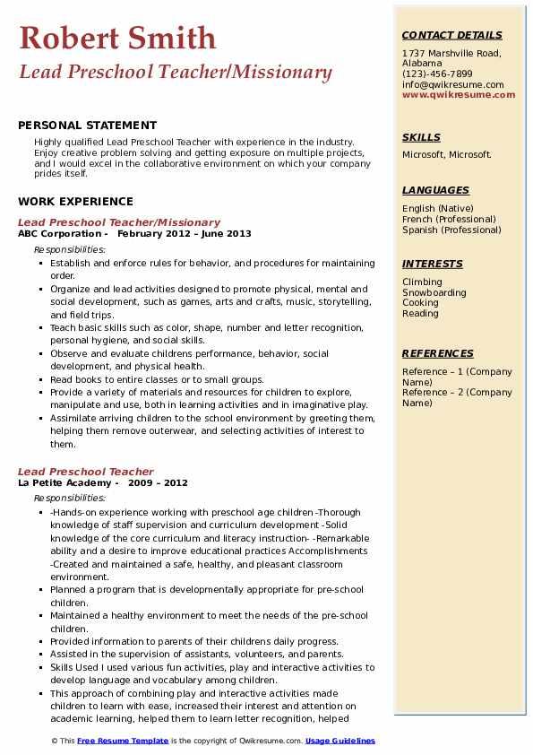 Lead Preschool Teacher/Missionary Resume Example