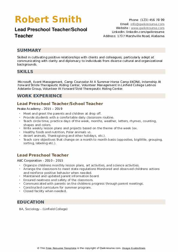 Lead Preschool Teacher Resume Samples | QwikResume