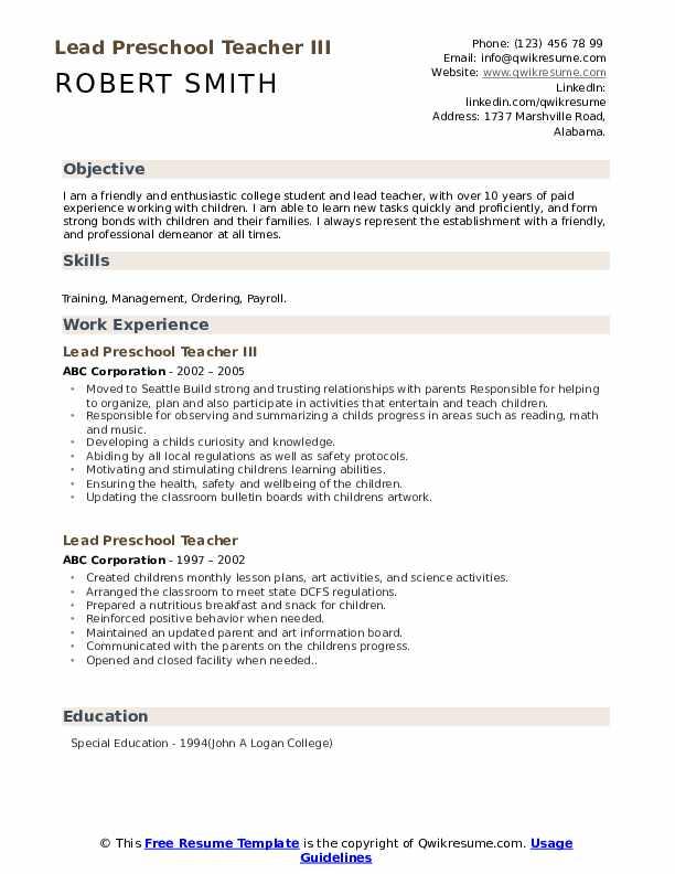 Lead Preschool Teacher III Resume Model