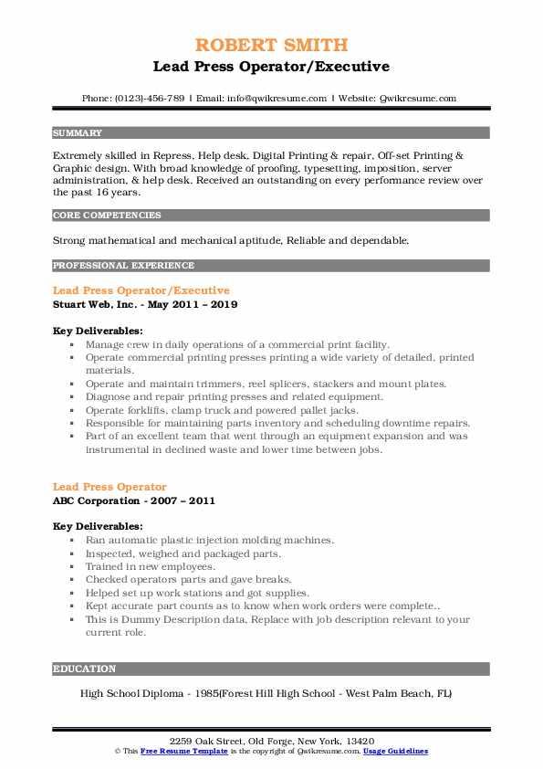 lead press operator resume samples
