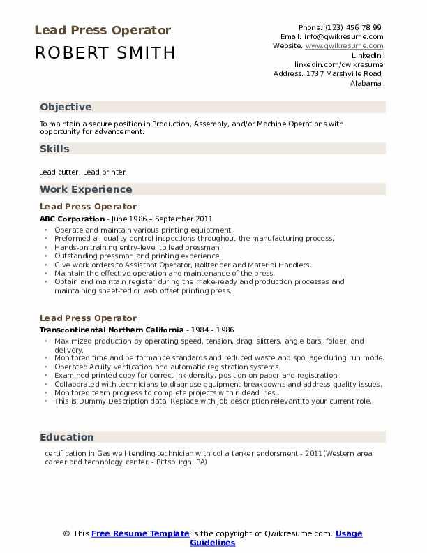 Lead Press Operator Resume example