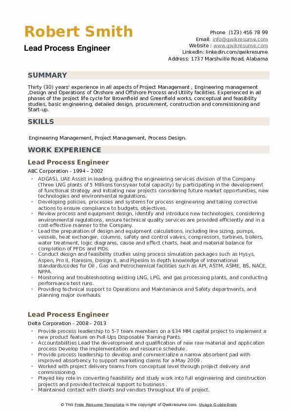 Lead Process Engineer Resume example