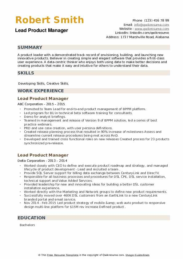 Lead Product Manager Resume example
