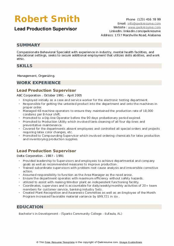 Lead Production Supervisor Resume example