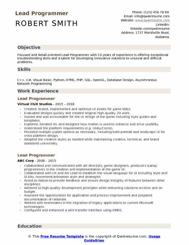 Lead Programmer Resume Sample