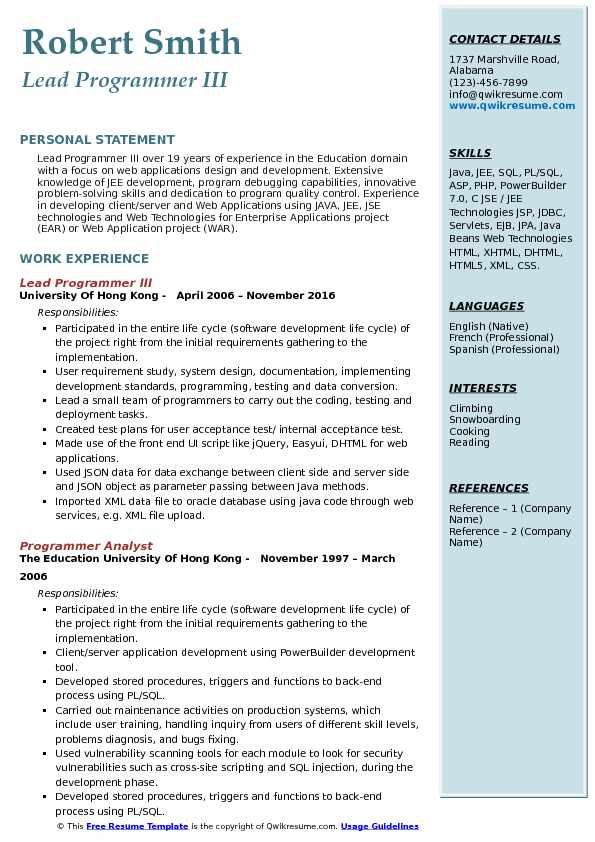 Lead Programmer III Resume Template