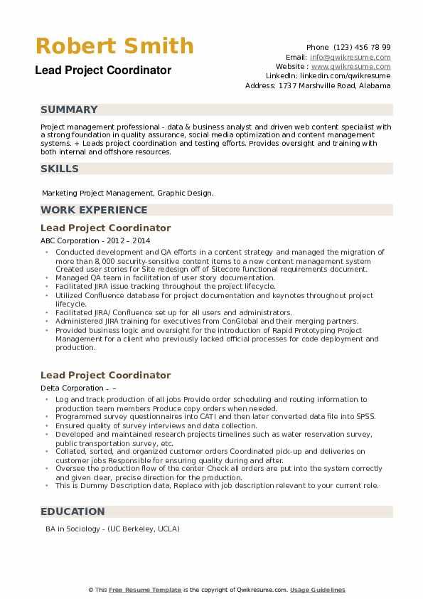 Lead Project Coordinator Resume example