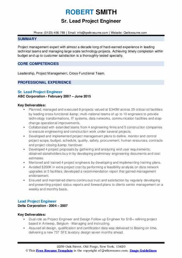 lead project engineer resume samples  qwikresume