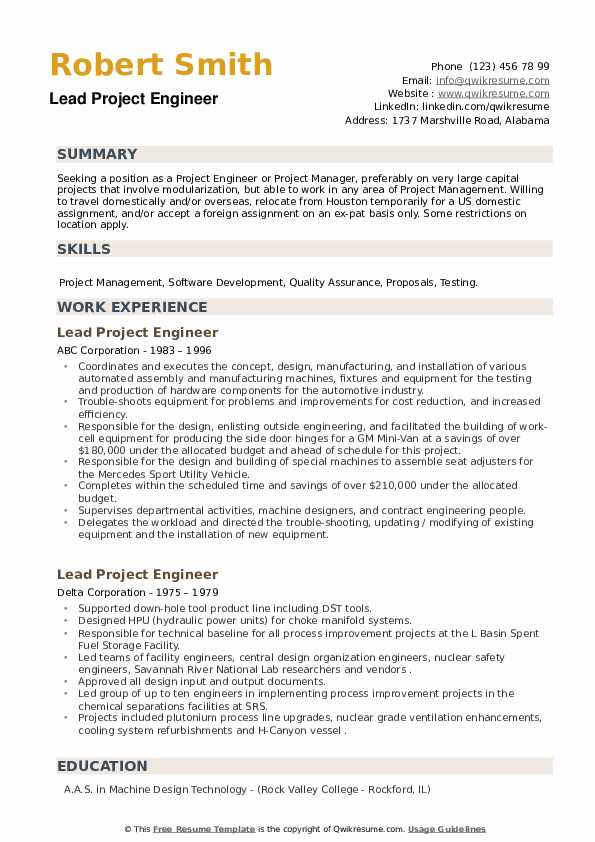 Lead Project Engineer Resume example