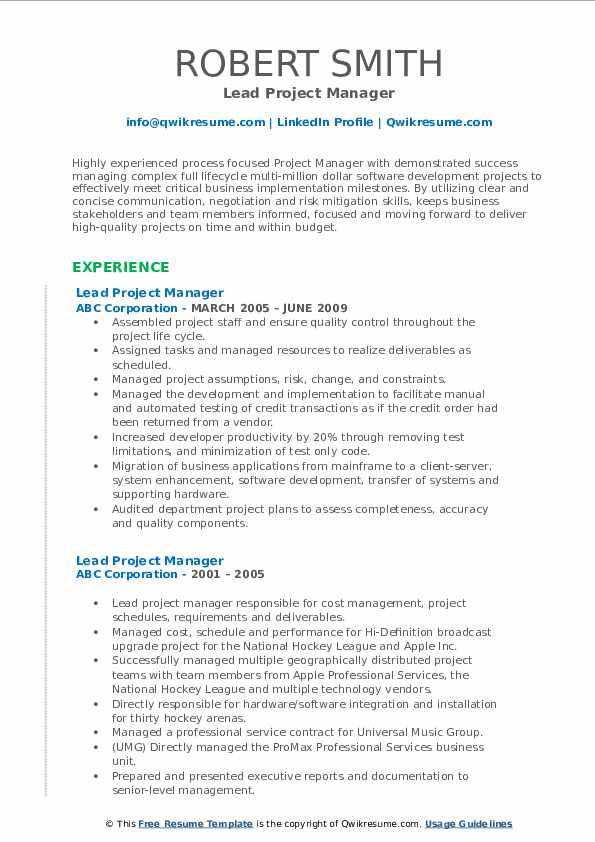 Lead Project Manager Resume example
