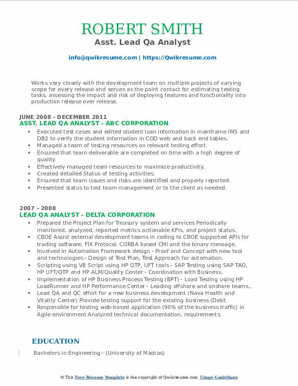 lead qa analyst resume samples