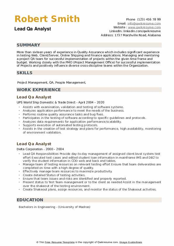 Lead QA Analyst Resume example