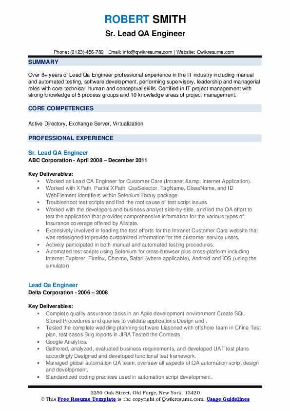 lead qa engineer resume samples  qwikresume