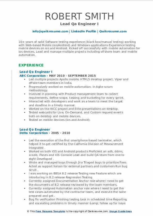 lead qa engineer resume samples