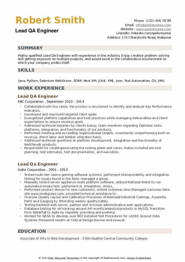 Lead QA Engineer Resume example
