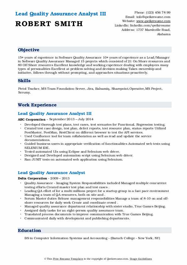 lead quality assurance analyst resume samples  qwikresume