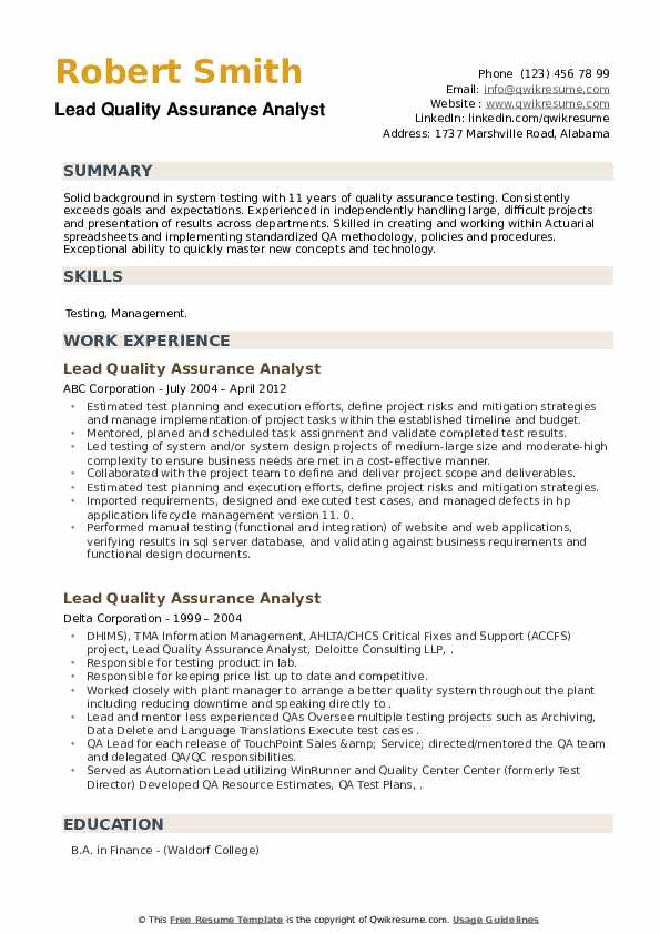 Lead Quality Assurance Analyst Resume example
