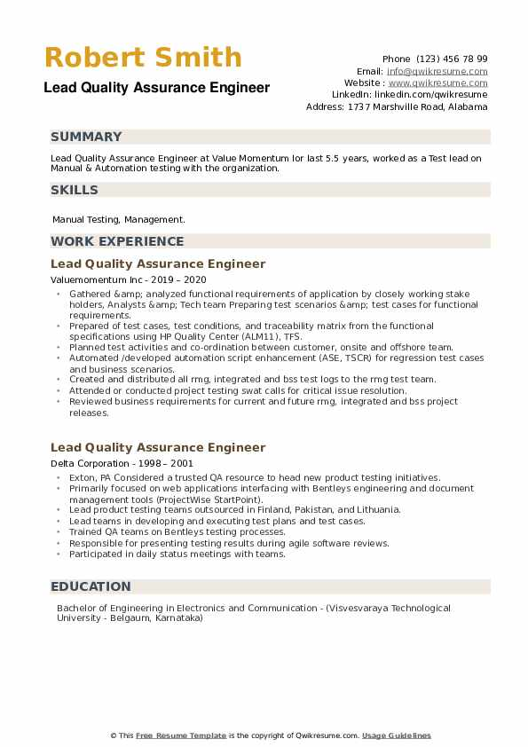 lead quality assurance engineer resume samples