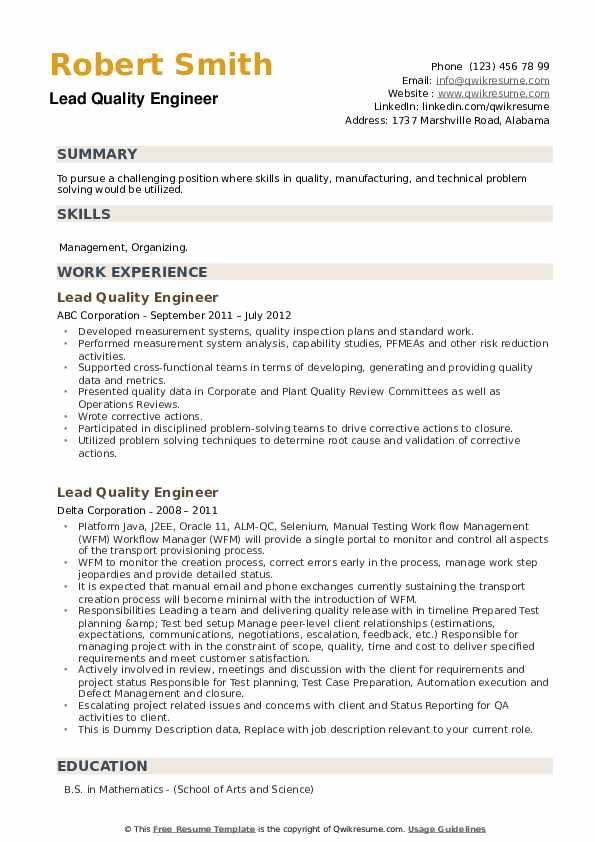 Lead Quality Engineer Resume example