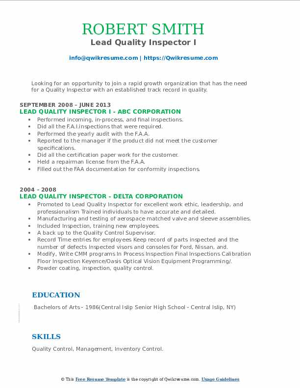 Lead Quality Inspector Resume example