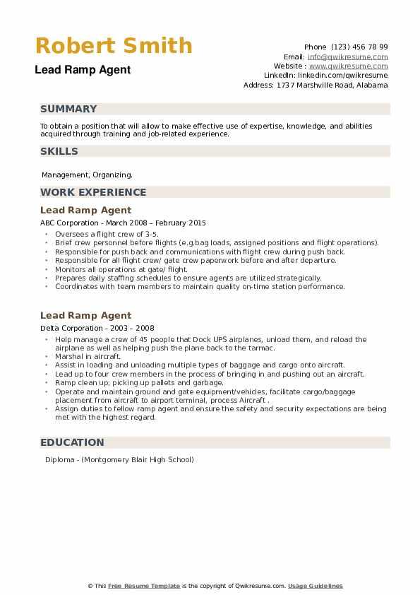 Lead Ramp Agent Resume example