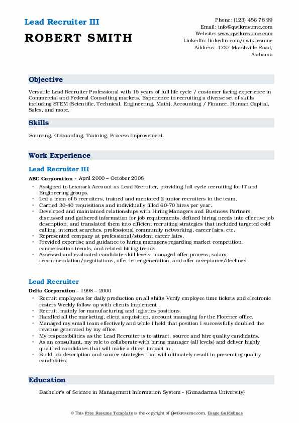 Lead Recruiter Resume Samples Qwikresume