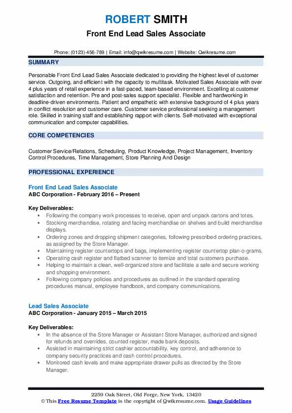 Front End Lead Sales Associate Resume Format
