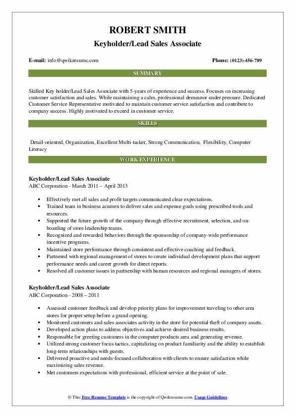 Keyholder/Lead Sales Associate Resume Example