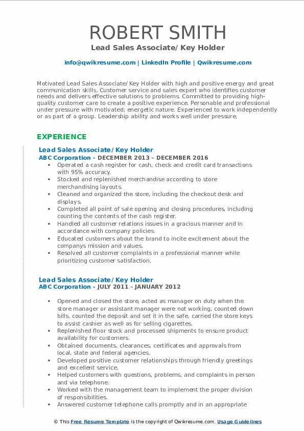 Lead Sales Associate/ Key Holder Resume Sample
