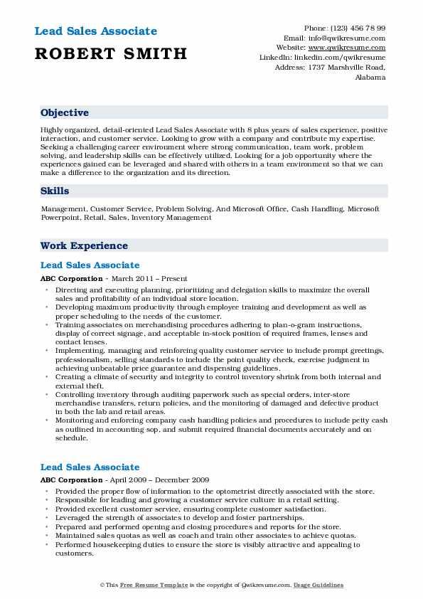 Lead Sales Associate Resume Sample
