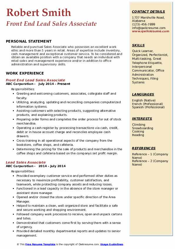 Front End Lead Sales Associate Resume Sample