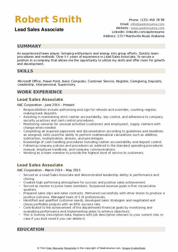 Lead Sales Associate Resume Example